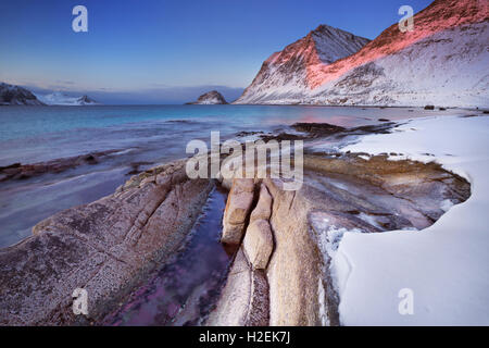Haukland beach on the Lofoten in northern Norway on a cold winter's morning. - Stock Photo