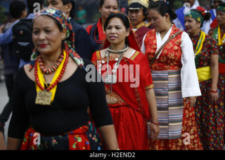 Kathmandu, Nepal. 27th Sep, 2016. Nepalese people from various ethnic groups take part in a rally to celebrate the - Stock Photo