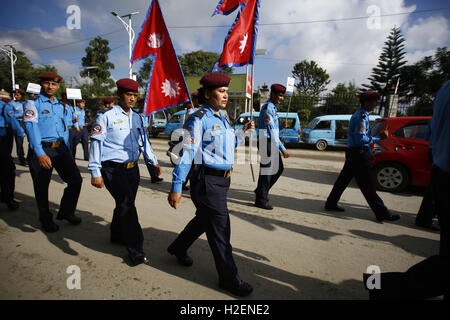 Kathmandu, Nepal. 27th Sep, 2016. Nepalese Police officers taking part in a rally to celebrate the 37th World Tourism - Stock Photo