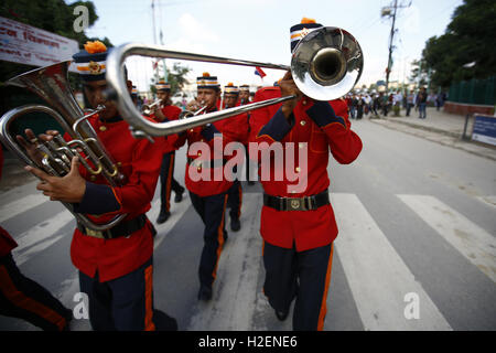 Kathmandu, Nepal. 27th Sep, 2016. Nepalese Army band play instruments taking part in a rally to celebrate the 37th - Stock Photo