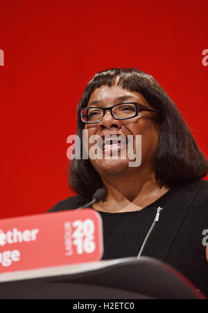 Liverpool, UK. 27th September, 2016. Labour Party Conference in Liverpool. Diane Abbott Shadow Secretary of State - Stock Photo