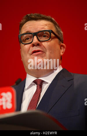 Liverpool, UK. 27th September, 2016. Tom Watson, Deputy Leader of the Labour Party, gives his speech at the Labour - Stock Photo