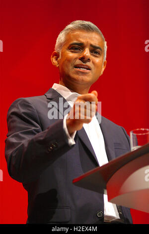 Liverpool, UK. 27th September, 2016. Sadiq Khan addresses the Labour Party Conference in Liverpool. Credit:  Rupert - Stock Photo