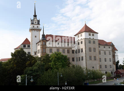 Torgau, Germany. 22nd Aug, 2016. View of Hartenfels castle in Torgau, Germany, 22 August 2016. The castle church - Stock Photo