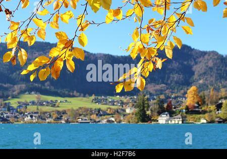 At lake Wolfgangsee in autumn, Austria, Europe. - Stock Photo