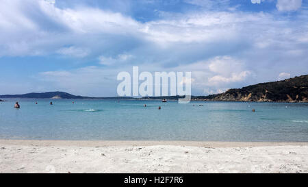 Punta Molentis Beach, Villasimius - 26 Septmber, 2016: uninidentify people on the beach with cloudy sky as editorial - Stock Photo