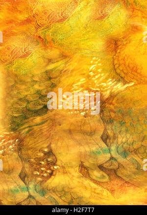 decorative background with different structures in yellow and orange tones - Stock Photo
