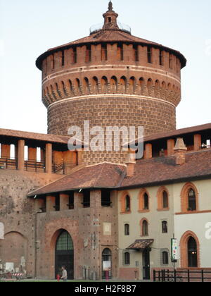 one of the towers and the inside buildings of the Sforzesco Castle, Milan, Italy, Castello Sforzesco - Stock Photo