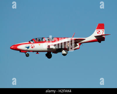 PZL TS-11 Iskra jet trainer aeroplane of the Polish Air Force aerobatic team the Bialo-Czerwone Iskry (White and - Stock Photo