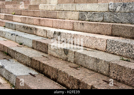 Stairs of stone leading to the orthodox Cathedral entrance. Taken in Nilova Pustyn monastery (Russia, Tver region, - Stock Photo
