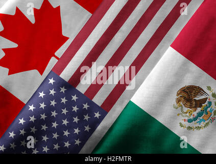 Close up of the flags of the North American Free Trade Agreement NAFTA members on textile texture. - Stock Photo
