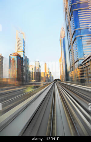 Dubai metro in high speed, motion blur - Stock Photo