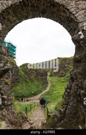 Arch in Dunluce Castle, Bushmills, County Antrim, Northern Ireland, UK - Stock Photo