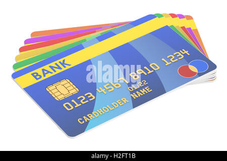 Set of Credit Cards, 3D rendering isolated on white background - Stock Photo