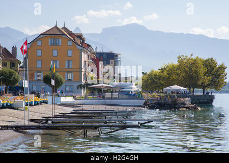 Vevey, Switzerland - September 25, 2016: The lakeside of the city of Vevey, a small city on the shores of lake Geneva. - Stock Photo