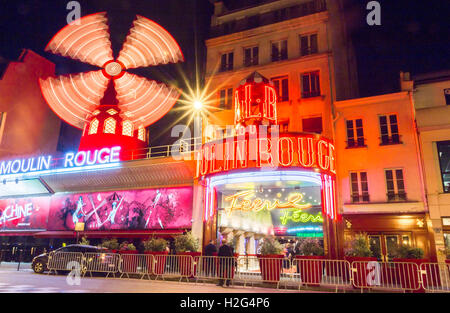 Paris, France-June 06, 2016 : The famous cabaret Moulin Rouge located in Montmartre quarter at Boulevard Clichy - Stock Photo