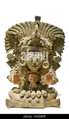 Funerary Earn with seated figure with large feather headdress dates from 4 - 5th century from Mexico - Stock Photo