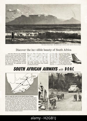 Original old vintage 1960s magazine advert dated 1964. Advertisement advertising South African Airways with BOAC - Stock Photo