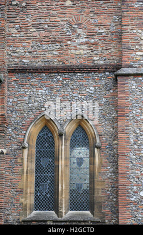 Lancet windows and blocked up window in St Albans Cathedral, Herts. - Stock Photo