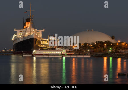 RMS Queen Mary retired ocean liner and dome. The iconic ship is currently a floating hotel. - Stock Photo