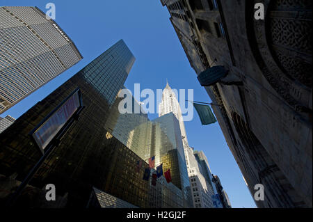 Chrysler building as seen from the 42nd Street near Grand Central - Stock Photo