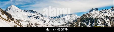 Panorama, mountain landscape, residual snow, Rohrmoos-Untertal, Schladming Tauern, Schladming, Styria, Austria - Stock Photo