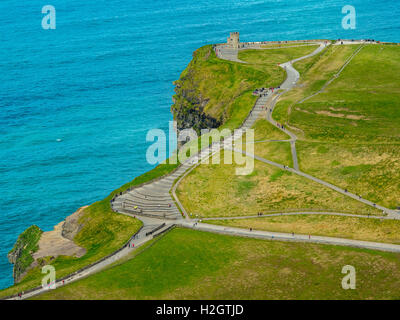 O'Brian's Tower, lookout tower on Cliffs of Moher, Cliff, County Clare, Ireland - Stock Photo