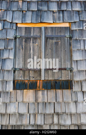 Window in log cabin, wooden shingles, Rohrmoos-Untertal, Schladming, Styria, Austria - Stock Photo