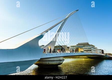 Samuel Beckett Bridge over River Liffey Dublin Ireland - Stock Photo