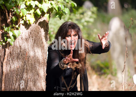 Actress Caroline Munro playing a vampire in a short comedy-horror film called 'Count Frankula' written by David - Stock Photo