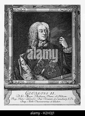 Engraving portrait of George II of Great Britain, King of England and Ireland and Prince-elector of the Holy Roman - Stock Photo