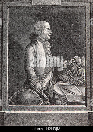 Vintage engraving portrait of Leopold II  Holy Roman Emperor,King of Hungary and Bohemia, Archduke of Austria and - Stock Photo