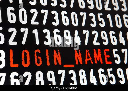 Computer screen with login name text on black background. Horizontal - Stock Photo