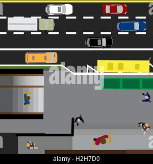 Plot road, highway, street, with the store. Underground crossing. Crossroads. Bus stop. With different cars. Top - Stock Photo