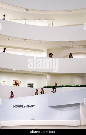 Manhattan New York City NYC NY Upper East Side Guggenheim Museum inside modern art museum Frank Lloyd Wright architecture - Stock Photo