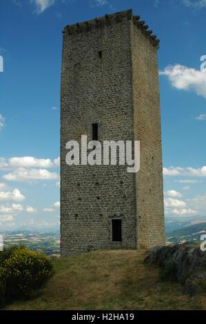 Stone tower of Castello di Aliforni, San Severino Marche, Macerata, Marche, Italy - Stock Photo