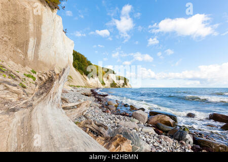 East coast of Ruegen, Germany, with its famous chalk cliffs at Jasmund National Park - Stock Photo