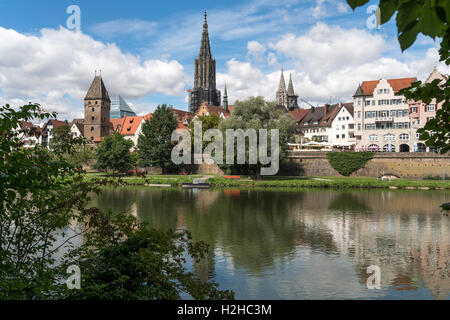 cityscape with danube river and the Ulm Minster, Ulm, Baden-Württemberg, Germany, Europe