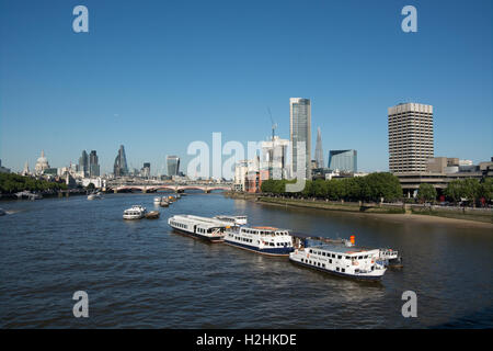 The view from Waterloo Bridge looking east. Left is St Paul's Cathedral as you look right the City of London and - Stock Photo