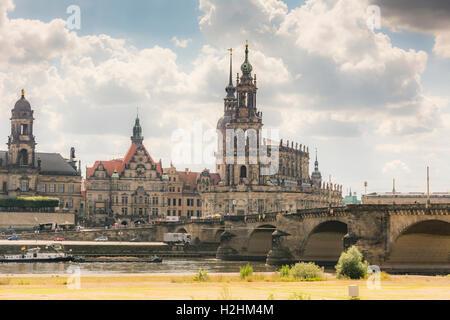 DRESDEN, GERMANY - AUGUST 22: Bridge over the Elbe in the historic center of Dresden, Germany on August 22, 2016. - Stock Photo