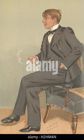 SPY CARTOON. Alfred Harmsworth, Visc Northcliffe. Publishing. Daily Mail. 1895 Stock Photo