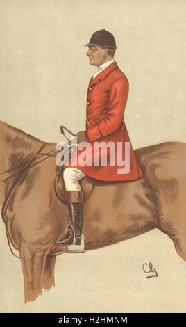 VANITY FAIR SPY CARTOON. Mr John Hargreaves 'Cattistock'. Fox hunters.By CG 1899 - Stock Photo