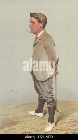 VANITY FAIR CARTOON. Harold Horsfall Hilton 'Hoylake'. Golf. By Spy. 1903 - Stock Photo