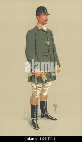VANITY FAIR SPY CARTOON. Mr Malcolm Burr 'Science and Sport'. Riders. By WH 1913 - Stock Photo
