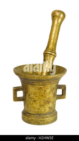 Vintage / old / antique bronze mortar with pestle isolated on white background / backdrop - Stock Photo