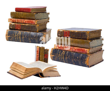 Antique vintage old worn books isolated on white background / backdrop - Stock Photo