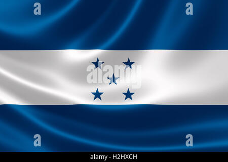 3D rendering of the flag of Honduras on satin texture. - Stock Photo