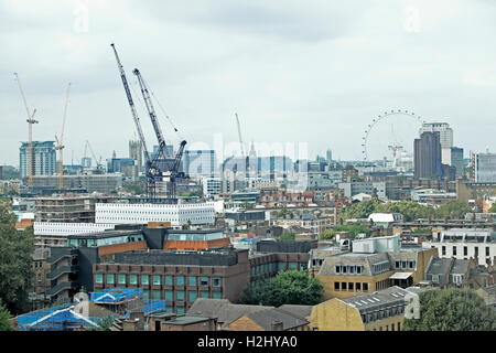 View through window over London from the viewing platform at Guys Hospital Cancer Centre Southwark London SE1 UK - Stock Photo