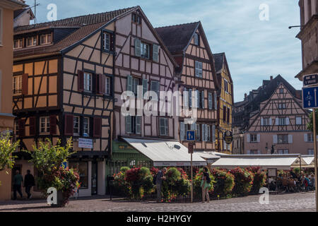 A View of streetlife in in Colmar - Stock Photo