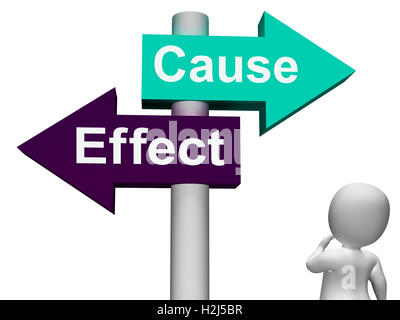 Cause Effect Signpost Means Consequence Action Or Reaction - Stock Photo